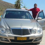 Christos and taxi at Kalivaki beach